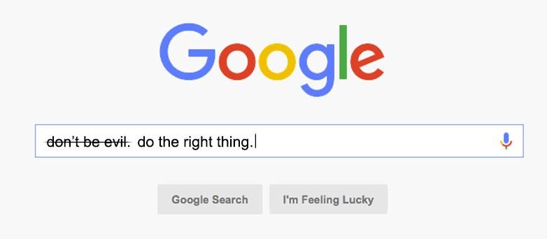 شیطان نباشید تگ لاین گوگل